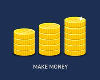 Стог золотых монеток в плоском стиле бесплатная иллюстрация