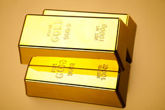 Стог золота в слитках, окружающая финансовая концепция Стоковые Фотографии RF
