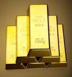 Стог золота в слитках, окружающая финансовая концепция Стоковое Фото