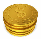 Стог золотых монеток Стоковая Фотография