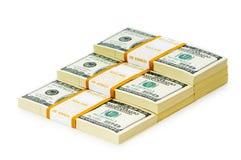 Стог изолированных долларов Стоковые Фотографии RF