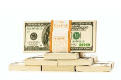 Стог изолированных долларов Стоковые Фото