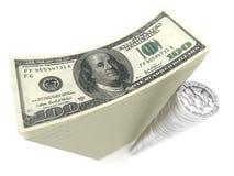 стог изолята долларов монеток кредиток Стоковое Фото