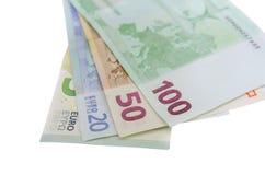 Стог изолированных банкнот евро Стоковое Изображение RF