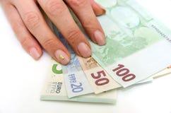 Стог изолированных банкнот евро Стоковые Фотографии RF
