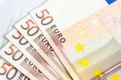 Стог изолированных банкнот евро Стоковая Фотография RF