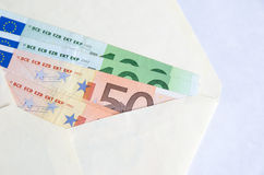 Стог изолированных банкнот евро Стоковое фото RF