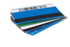 Стог изолированных кредитных карточек Стоковая Фотография