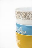 Стог или собрание керамических шаров, флористический орнамент, пастельные цвета, ввели изображение в моду для социальных средств  Стоковое Изображение