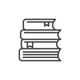 Стог книг выравнивает значок, знак вектора плана, линейную пиктограмму стиля изолированную на белизне иллюстрация штока