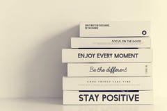 Стог книг мотивировки воодушевленности жизни Стоковые Изображения