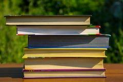 Стог книг на деревянном столе внешнем Стоковые Фото