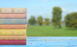 Стог книг на запачканной предпосылке ландшафта Стоковые Изображения