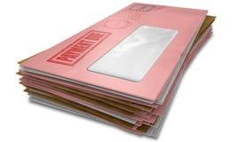 Стог конверта задолженности Стоковая Фотография