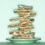 Стог конфеты арахисового масла хрупкой Стоковая Фотография