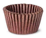 Стог коричневых бумажных стаканчиков для печь булочек Стоковое фото RF
