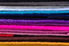 Стог красочного войлока acrylic Пестротканая ткань macrophoto Стоковая Фотография RF