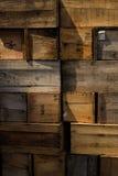 Стог клетей выдержанная предпосылка деревянных коробок Стоковое Изображение
