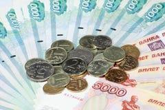 Стог монетки и скрепления Стоковое фото RF