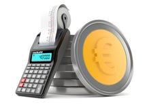 Стог монеток евро с калькулятором иллюстрация вектора