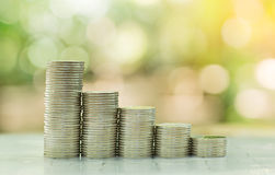 Стог монеток, сфотографированный на предпосылке природы Стоковые Фотографии RF