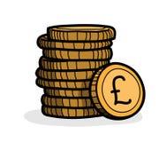 Стог монеток (фунт стерлинга) иллюстрация штока