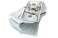 Стог новых долларовых банкнот дизайна Стоковые Фото