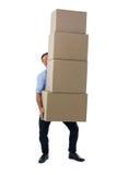Стог нося мужской исполнительной власти картонных коробок Стоковая Фотография RF