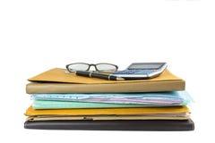 Стог документа с ручкой и калькулятором Стоковое Фото