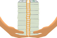 Стог доллара на руках бесплатная иллюстрация