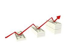 стог доллара 100 счетов на белой предпосылке и красной поднимая диаграмме с вверх, иллюстрация перевода 3d, богатая концепция Стоковые Изображения RF
