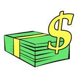 Стог долларов значка, шаржа значка Стоковая Фотография