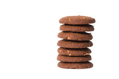 Стог печений масла гайки анакардии шоколада изолированный на задней части белизны Стоковая Фотография