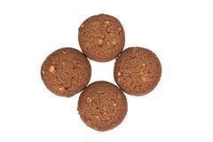 Стог печений масла гайки анакардии шоколада изолированный на задней части белизны Стоковая Фотография RF