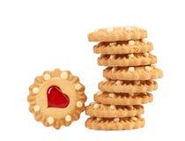 Стог печенья клубники сердца форменного Стоковое фото RF