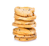 Стог печенья при черный сезам изолированный на белизне Стоковая Фотография RF