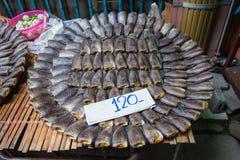 Стог посоленных высушенных малых рыб которые имеют осфронемовых Fi высушенной кожи Стоковые Фото