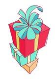 стог подарка коробок цветастый Стоковое Изображение