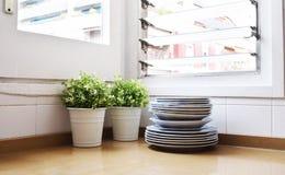 Стог плит и 2 зеленых растений в светлой кухне Стоковые Изображения