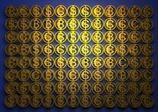 Стог различных монеток содержит bitcoin, доллара и евро Знаки успеха финансовые дело 3d высокое как качество представляет успех u стоковые изображения rf