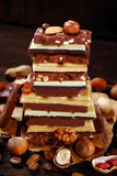 Стог различных шоколадных батончиков Стоковые Фото