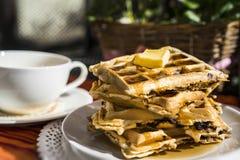 Стог свеже сделанных waffles Стоковые Изображения RF