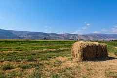 Стог сена в сельской местности стоковая фотография