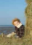 стог сена мальчика стоковое изображение rf