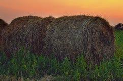 Стог сена на заходе солнца Стоковые Изображения RF