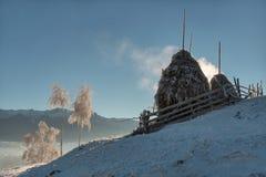 Стог сена на зимние дни Стоковые Фотографии RF