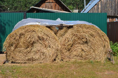 Стог сена, покрытая полиэтиленовая пленка - ферма земледелия на деревне лета Стоковое Изображение RF