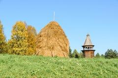 Стог сена соломы на зеленой траве Стоковые Фото