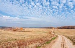 Стог соломы в поле на день осени стоковая фотография