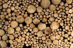 Стог спиленных журналов Естественная деревянная предпосылка оформления стоковая фотография rf